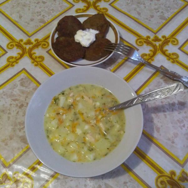 Что я ем на ПП. Печеночные оладьи. Сырный суп.