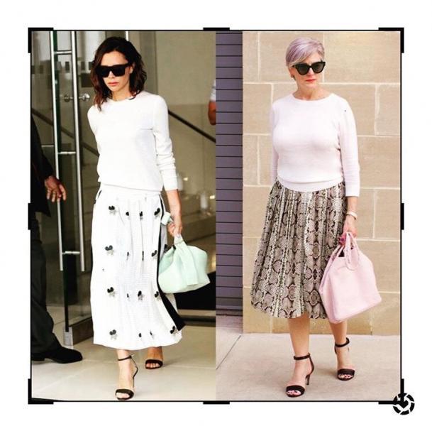 61-летняя дама повторяет образы молодых женщин. Фото-сравнения.