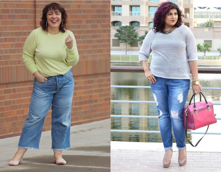 С чем комбинировать джинсы полным женщинам 40+: 11 стильных образов