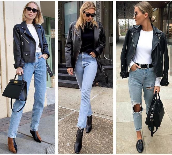 Как стильно носить кожаную куртку осенью: 20+ примеров