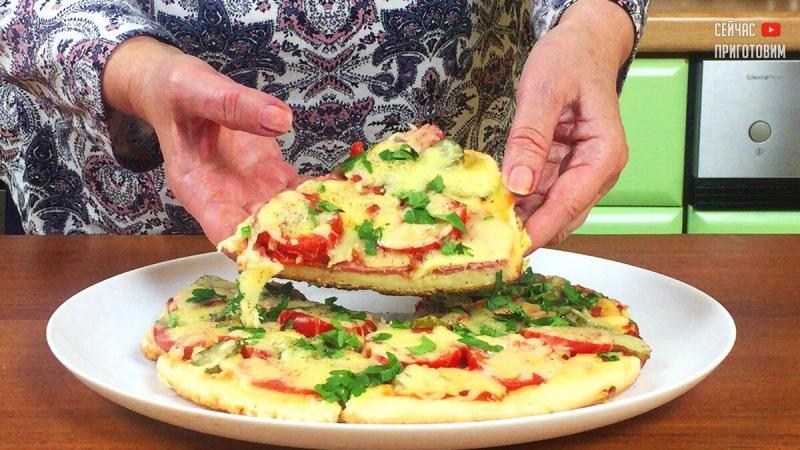 Когда совсем нет времени, а хочется чего-нибудь вкусненького, готовлю пиццу за 5 минут на сковороде